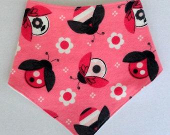 Ladybug Bibdana - Pink Bandana Bib - Flannel Baby Bib - Ladybug Baby Bibdana - Absorbent Bib - Girl Teething Bib - Baby Girl Bib