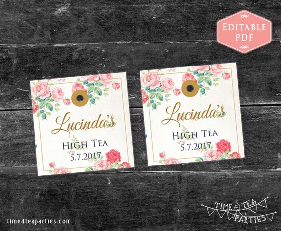 Tea bag tags pink floral editable pdf with gold text download today