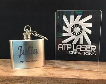 Personalizes Keychain Flask- FK1011-  2 oz., Stainless Steel,  My Little Helper