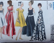 Vogue Special Design pattern 6924. Vintage 1960s misses' flared evening dress in two lengths, self or contrast bodice, square neckline