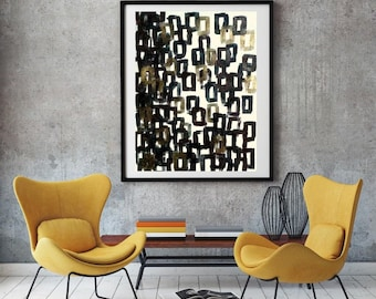 Abstract Geometric Painting in Black Brown Gold and White on Canvas ,Title:Rectangles rain,47.2X35.4inch(120X90 cm)