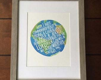 Joshua 1:9 Globe Print or Printable
