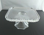 Glass Cake Stand, vintage pressed glass single tier cake stand