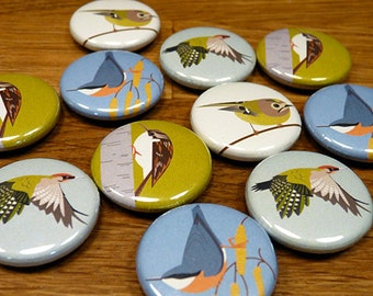 Little Woodland Bird Fridge Magnets - set of 4