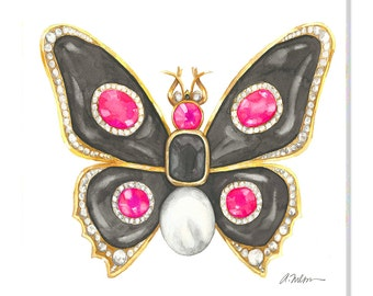 Butterfly Brooch Watercolor Rendering in Yellow Gold with Black Onyx, Pink Spinels, Diamonds, and Pearl printed on Canvas