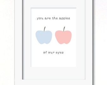 A4 apples of our eyes twins nursery prints available in 3 versions