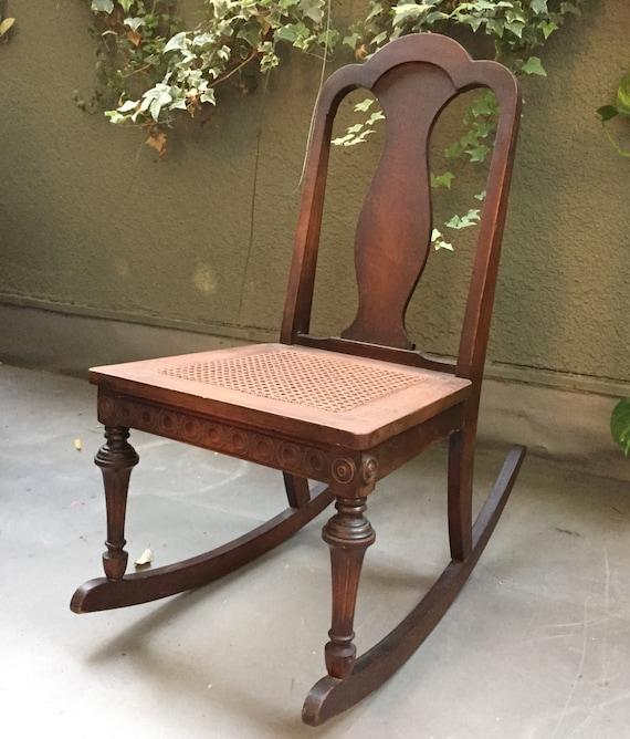 antique cane rocking chair vintage rocking chair wooden. Black Bedroom Furniture Sets. Home Design Ideas