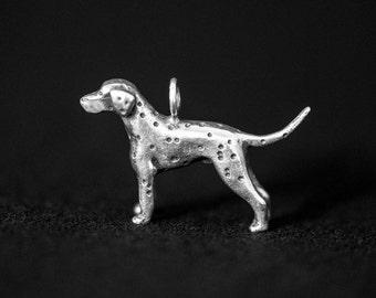 Sterling Silver Dalmatian Charm, Silver Dalmatian Pendant