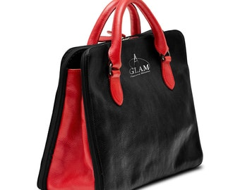 Elegant Leather Handbag, Made in Italy, Black&Red Limited Edition, Two Handles, Detachable Shoulder Strap, Center and Side Pockets