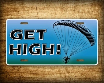 GET HIGH! Backpack Paramotor License Plate Powered Paraglider PPG Auto Tag Ultra Light Aviation Parachute Flying