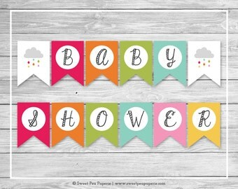 Rainbow Showers Baby Shower Banner - Printable Baby Shower Banner - Rainbow Baby Shower - Rainbow Baby Shower Banner - EDITABLE - SP100