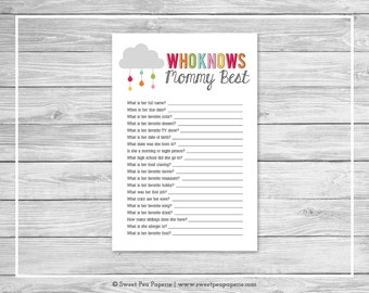 Rainbow Showers Baby Shower Who Knows Mommy Best Game - Printable Baby Shower Who Knows Mommy Best Game - Rainbow Showers Baby Shower -SP100