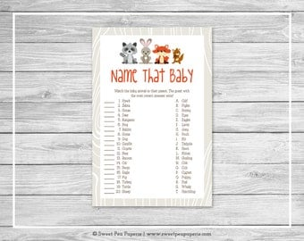 Woodland Animals Baby Shower Name That Baby Game - Printable Baby Shower Name That Baby Game - Woodland Animals Baby Shower - SP105