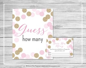 Pink and Gold Baby Shower Guess How Many Game - Printable Baby Shower Guess How Many Game - Pink and Gold Glitter Baby Shower - SP106