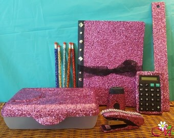 Glitter Student School Supply Set (Your Choice of Color)