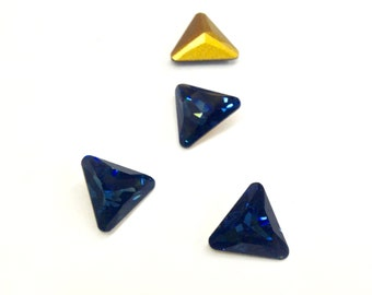 12 Pieces Swarovski Triangle Shape Montana Sapphire Crystals, with Gold Foil, 1st Quality, Article #4722, 10mm