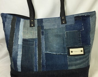 Denim tote bag HTY15-0217