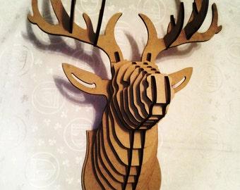 Big deer head cardboard animal head 3d puzzle animal head mdf deer head 3d puzzle animal head cardboard animal head mdf deer head wood sculpture wood deer pronofoot35fo Gallery