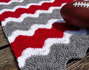 Dallas Cowboys Crochet Chevron Blue Grey And White Blanket