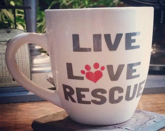 Live Love Rescue coffee mug - coffee cup - animal rescue - adopt don't shop - paw print - animal lover - love - rescue - adoption - adopt