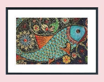 Cross stitch pattern, modern cross stitch pattern, fish cross stitch pattern, vintage cross stitch pattern, instant download