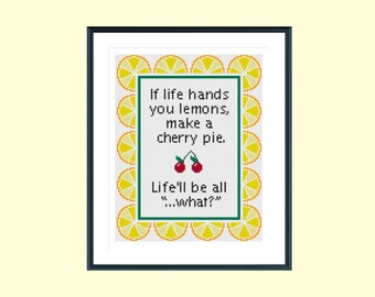 Cross stitch pattern, funny cross stitch pattern, funny quote cross stitch pattern, lemon cross stitch pattern, instant download