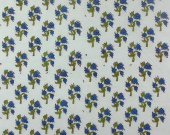 5 Yards Hand Block Printed Fabric: Indigo Blue, Pink
