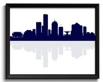 Milwaukee Skyline Wisconsin City Navy Blue Cityscape Poster Print Modern Abstract Landscape Art