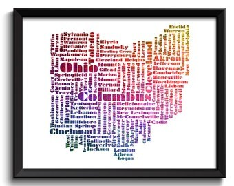 Ohio Map State Text Word Watercolor Typography Poster Print USA United States Abstract Landscape Art Painting Colorful Purple Red Green Blue