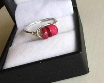 Boho red and silver ring, red shell bead handmade silver wire wrapped ring