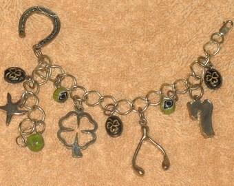 Vintage silver color good luck charm bracelet
