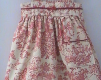 Girl's Dress Made of Vintage Red Toile