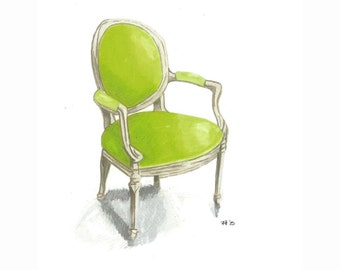 Chartreuse Louis Chair Drawing