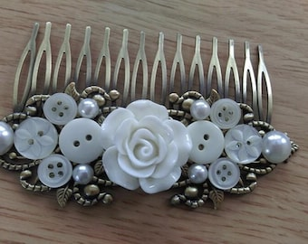 Vintage Bridal Button and Pearl Comb