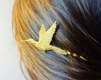Soldered Gold hummingbird Hair Pin Bridal Hair Pin Bird bobby pin Bird Hair Clip Hair Accessory Wedding Hair Clip Boho Hair Woodland Bride