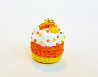 Handmade Candy Corn Cupcake Charm - Polymer Clay Cupcake Charm - Miniature Food Jewelry Halloween