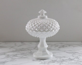 Westmoreland Sawtooth Milk Glass Pedestal Lidded Compote Dish