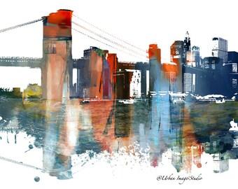 New york skyline skyline urban silhouette cityscape art for Paisajismo urbano