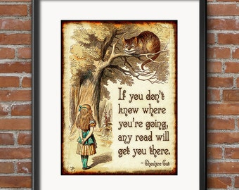 Alice in Wonderland Decorations Cheshire Cat Tail - Wonderland Party Decor - Any Road Will Take You There - Large Wall Art - 0237