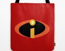 incredibles logo disney pixar. tote bag