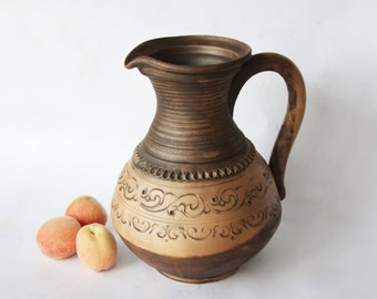 Grecian ceramic pitcher Greek pitcher Redware jug  Handmade pitcher Water pitcher Wine pitcher Juice jug Wine ewer Water ewer Cafare clay