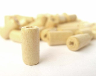 50 Wooden Beads, Сylindrical Wood Bead, Tube Beads, Natural Wooden Beads, Eco Friendly