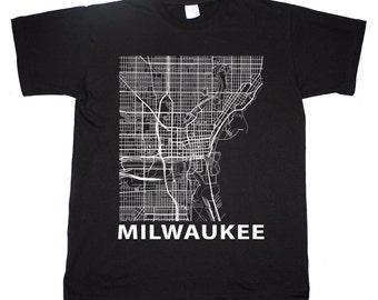 Milwaukee Wisconsin Street Map T shirt