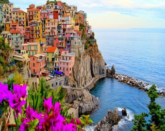 "Village Of Manarola, Cinque Terre, Italy. With Flowers. 24"" x 24"" Gallery Wrapped Canvas Print"
