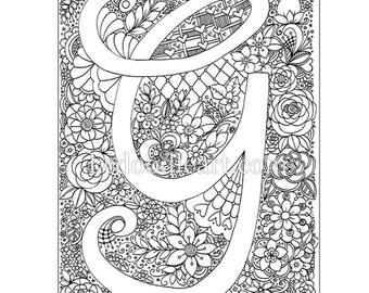 Digital Instant Download - Adult Coloring page - Letter G