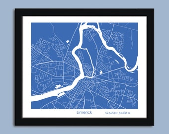 Limerick map, Limerick city map art, Limerick wall art poster, Limerick decorative map