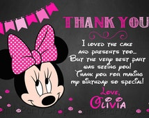 Minnie Mouse Thank You Card, PERSONALIZED, Digital File