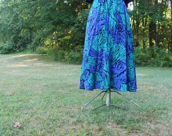 80s/90s Blue Print Midi Skirt