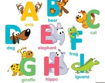 Animals Alphabet A-Z Digital Clipart