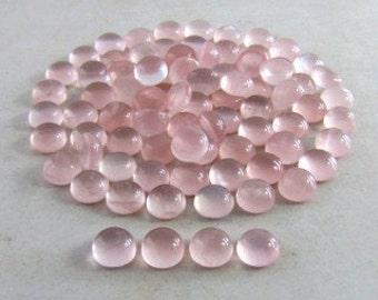 Pink quartz 8 mm round cab lot (20 pcs)